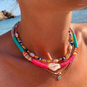 Dvacaman 2020 Summer Bohemian Style Soft clay Necklace for Women Fashion Statement Imitation Pearl Pendant Choker Necklace Beach1