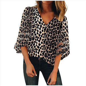38 Women Blouse Sexy V Neck Leopard Mesh Panel Blouse 3 4 Bell Sleeve Casual Loose Top White Floral Shirt Chiffon