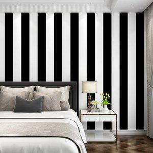 Preto e Branco Listrado Papel de Parede Moderna Simples Vertical Wallpaper Adesivo Sala de estar Quarto Televisão Fundo de Parede1