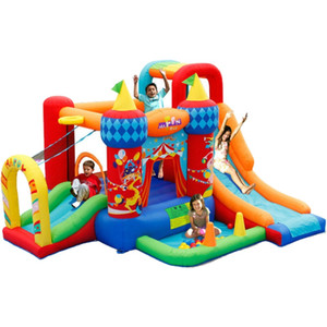 Inflatable Circus Bounce House Slide Home Garden Supplie Indoor Toys Kid Trampoline Jumping Bouncer With Basketball Hoop Pit Kindergarten