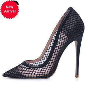 Partido sexy de alta calidad Punto puntiagudo de tacones de punta negra Bomba de damas Diez pulgadas / 12 cm Vestido Tamaño 5-12 Zapatos de mujer