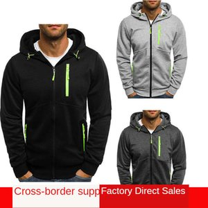 2021 Spring Outdoor sports new men's multicolor casual sweater fashionable hooded cardigan coat Ienbel