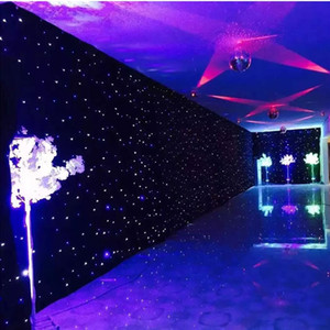 Shiny Blue-White Color LED Star Curtain Wedding Stage Backdrop Cloth With Lighting Controller For Wedding Decoration