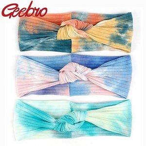 Geebro Color Color Colorido Corbata Dye Cinturonadas Cinturinas para Mujeres New Soft Rainbow Cotton Stretch Knot Bandas de pelo Wrap de cabeza para damas