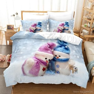 Winter Couple Snowman Printed Bedding Set 3d Merry Christmas Duvet Cover Pillowcase Twin Full Queen King Bedclothes Kids Gifts