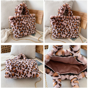 Winter New Fashion Shoulder Bag Red Brown Leopard Women Hand Bag Plush Handbag Gold Chain Messenger Bag Winter Soft Warm Fur Bags DHD3356