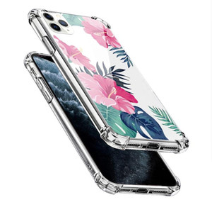 Painting Flower Transparent TPU Air Cushion Phone Case for Samsung S20 Ultra note 20 10 iPhone 12 Mini 11 Pro Max 6 7 8 Plus XR XS