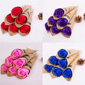 Üç Katmanlar Ellerini Yıkama Soapwort Gül Sevgililer Günü Anneler Günü Hediyeler Parfümlü Sabun Çok Renkli Sabun Çiçeği Narin 0 95DY O2