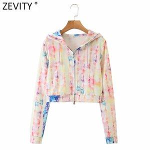 Zevity New Women vintage colorful tie dye painting casual short hooded sweatshirts ladies zipper fly crop hoodies chic tops S349 Y1116