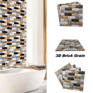 30x30cm Home Decor Wall Sticker Fancy 3D Marble Brick Pattern PVC Self-Adhesive Wall Paper Sticker for Bathroom Bar TV DIY