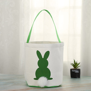 Easter Rabbit Basket Easter Bunny Bags Rabbit Printed Canvas Tote Bag Egg Candies Baskets 4 Colors PPD225