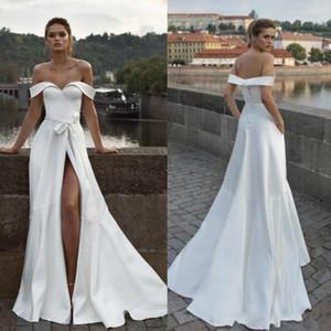2021 elegant simple satin a line wedding dresses with high split beach bridal gowns sash Off Shoulder