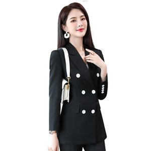 Red Black Women Pant Suit Button Decoration Double Breasted Two Piece Set Blazer Coat Jacket and Trouser For Office Lady