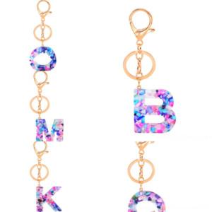 v1Vg Chakra Resin Style Hexagon Prism Natural Fashion Key 26 English Letter Keychain chain Key Ring Handbag Hangs Jewelry Pendant