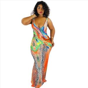 Colorful Floral Print Maxi Dress Women V Neck Slip Vestido Summer 2020 New Sleeveless Long Dress Plus Size 3 XL Lady Party