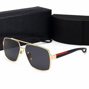 Lunettes de soleil de luxe de luxe de luxe polarisée à la mode Polarisée Polarisée Sunglass Gold Plated Cadre carré Brand Lunettes de lunettes
