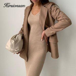 wholesale Elegant Autumn Winter Dresses Women Elastic Bottoming Khaki Long Sweater V Neck Straight Knitted Pullovers with Belt