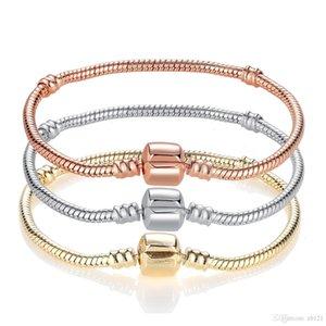 2020 925 Silver plated 3mm Snake Chain Fit Pandora Bracelet Charm Bead Bracelet Christmas Gift For Men Women 17~21cm