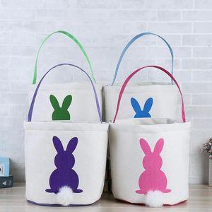 Easter Rabbit Basket Rabbit Burlap Bags DIY Bunny Basket Easter Egg Candy Basket Storage Bag Rabbit Ears Handbag fast sea shipping YYS4631