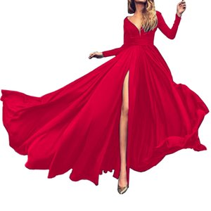 Lady Solid Party Evening Club Maxi Formal Long Sleeve Woman Dress Wedding High Slipt Womens Fashion 2020 Elegant Dresses Q0111