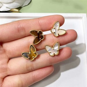 Brand Pure 925 Sterling Silver Jewelry For Women Small Butterfly Earrings Mother of Pearl Gold Color Stud Earrings Party Jewelry