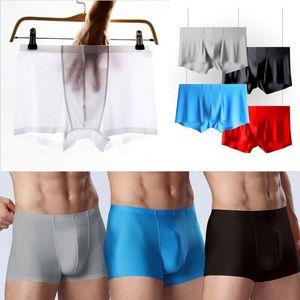 1pcs lot men underwear Boxer shorts mens Ice silk Seamless u convex very soft sexy kilot male men's underpants boxer