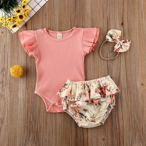 HIPAC 0-24M Baby Summer Clothing Infant Newborn Baby Girl Ruffled Ribbed Bodysuit Floral Shorts Headband 3Pcs Set