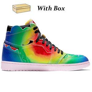 2021 Nouveau J Balvin 1S High Og Hommes Basketball Chaussures Jumpman 1 Type Type Multi-Color Rainbow Hommes Baskets Sports Sneakers avec boîte