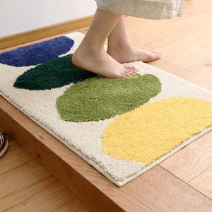 Flocking quarto sala de estar tapete tapetes simples cozinha casa casa de banho esteira absorvente (tamanho: 80 * 120 cm)
