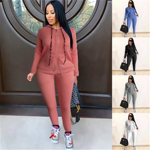 Ladies Solid Colors 2Pcs Sets Fashion Trend Long Sleeve Zipper Hooded Tops Pant Suits Designer Female Spring New Casual Skinny Tracksuits