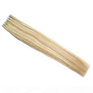 테이프 인간의 머리카락 확장 40 PCS P27 613 피아노 컬러 금발 브라질 머리 스킨 웨이프 테이프 헤어 익스텐션 100g 이중 그려진 테이프