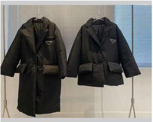 Женщины дизайнерская куртка вниз пальто бренд зима длиннее пальто роскошный стиль моды с поясом корсет леди тонкие куртки кармана насыщенные теплые пальто