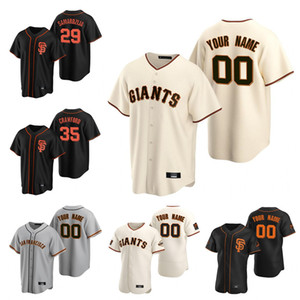 Custom San Francisco 2020 Гиганты Buster Posey Бейсбол Джерси Брэндон Кроуфорд Кевин Столб Ястрацемский Лонгория пояс Джерси Мужчины Женщины Молодежь
