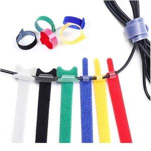50pcs Réutilisable Câble Noir Cordtidy Organisateur Organisateur Hook and Loop Câble Câble Cadre de nylon Crochet Crochet Crochettes Multiple Couleur WMTKQK
