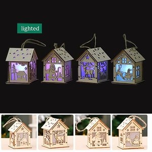 Christmas log cabin Hangs Wood Craft Kit Puzzle Toy Christmas Wood House with candle light bar Home Christmas Decorations gift EWE2883