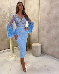 Feathers Long Sleeves Prom Dresses with Sash Applique Lace V Neck Formal Dresses Evening Tea Length Mermaid Vestidos De Novia
