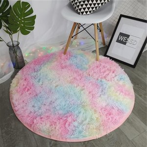Colorful Rainbow Comfortable Soft Carpet Home Living Room Bedroom Bedside Round Wool Carpet Home Decoration