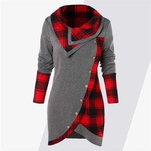 ROSEGAL Hoodies Coats Women Plus Size Tartan Panel Long Sleeve Ladies Tops Autumn Asymmetrical Casual Pullovers Female Clothes Y200110