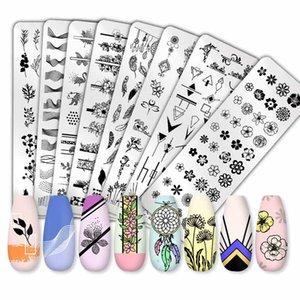 Pint You You Flower Geometry Nail Stamping Placas Animal Folhas DIY Image Stencil Para Unhas Polonês Impressão Modelos Ferramentas