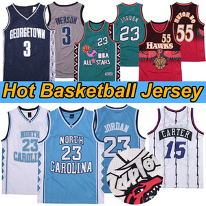NCAA Kuzey Carolina Tar topuklu 23 Michael Jersey Tracy 1 McGrady Georgetown Hoyas 3 Vince 15 Carter Basketbol Formaları