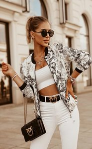 Women Floral Print Zipper Jacket Female Fashion Long Sleeve Casual Autumn Spring Retro Bomber Coat Lady Jackets Outwear 2020 New
