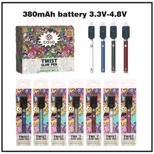 Batterie de vaporisateur de tension variable de haute qualité COSO 3.3-4.8V Batterie de vaporisateur de tension 510 Fil 380 MAH Préchauffage Kit Batteries de cigarettes