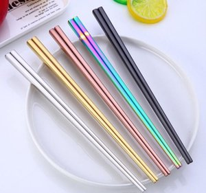 Chopstick 304 Stainless Steel Chopstick Wed Chopstick Square Glossy Silver Gold Rose Gold Black Rainbow Wholesale