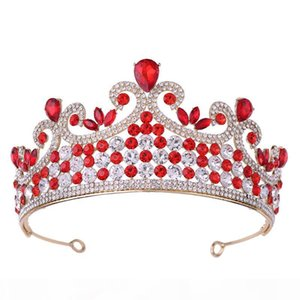 Fashion Princess Birthday Crown Red Crystal Wedding Tiaras Hairbands Bridal Hair Accessories Handmade Women Bride Crowns 2020