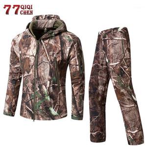 Qiqichen Vêtements tactiques Armée pour hommes Camouflage Soft Shell Soft Softout Jungle Lurker Hunt Jacket + Pantalon Suit1