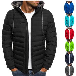Men Winter Down Jackets Warm Parkas Cotton Waterproof Zipper Hooded Long Sleeve Solid Lightweight Mens Clothing Outwear Coat