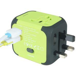 Dual USB AU UK US EU Universal Travel AC Power Charger Adapter Plug Converter green