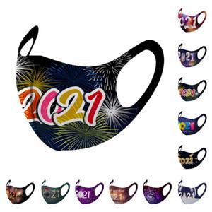 2021 Frohes Neues Jahr Buchstaben Gesichtsmaske Weihnachten Designer Gesichtsmaske Frauen Herren Facemask Masque Party Dekorationen Anti Dust Dünne Masken OWA2425
