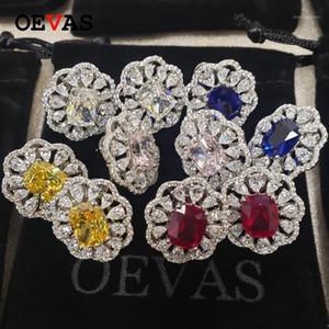 Oevas funkelnde topaz saphir ruby erstellt moissanite hohe kohlenstoff diamant ohrstecker 100% 925 sterling silber feine schmuck
