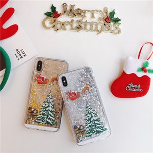 Hot sale Glitter Liquid Glitter Sand Star Quicksand Christmas Tree Design Soft Christmas Gift Phone Cover Case For Phone